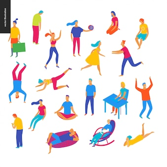 Conjunto de pessoas ilustradas de vetor