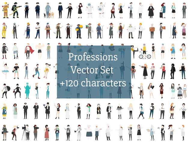 Conjunto de pessoas ilustradas