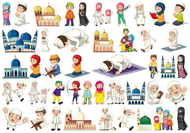 Conjunto de pessoas islâmicas