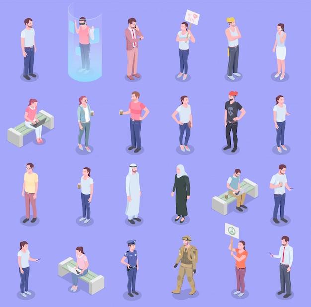 Conjunto de pessoas isométrica da sociedade com caracteres humanos isolados de pessoas que representam diferentes grupos populacionais com ilustração vetorial de sombras
