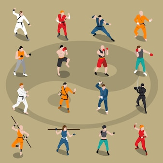 Conjunto de pessoas isométrica de artes marciais