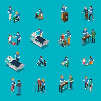 Conjunto de pessoas isométrica de caridade voluntária