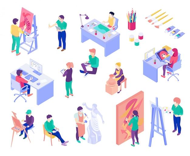 Conjunto de pessoas isométrica de profissões criativas
