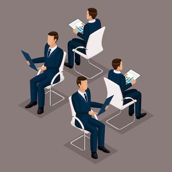 Conjunto de pessoas isométrica de tendência, empresários 3d de terno, sentado em uma cadeira, vista frontal e traseira isolada. ilustração vetorial