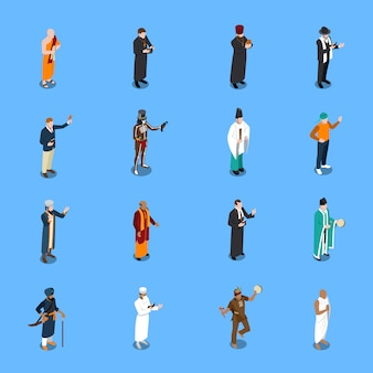Conjunto de pessoas isométrica religião s