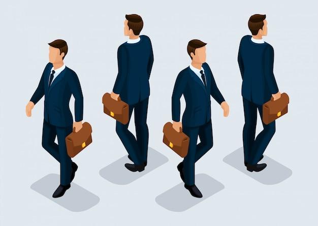 Conjunto de pessoas isométrica tendência, empresários 3d em trajes de negócios, gestos de pessoas, vista frontal e traseira