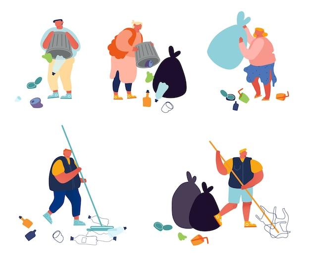 Conjunto de pessoas jogando e recolhendo lixo. poluição de lixo isolada no fundo branco.