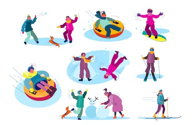 Conjunto de pessoas jogando jogos de inverno