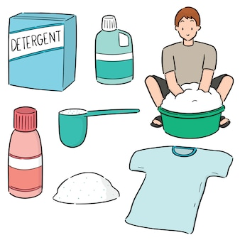 Conjunto de pessoas lavando roupas