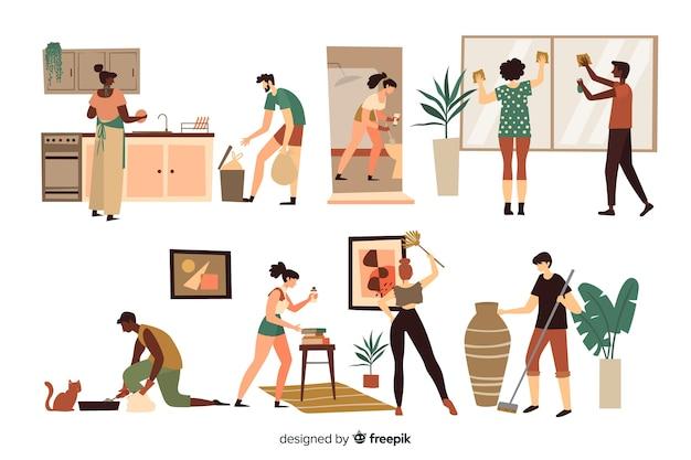 Conjunto de pessoas limpando a casa