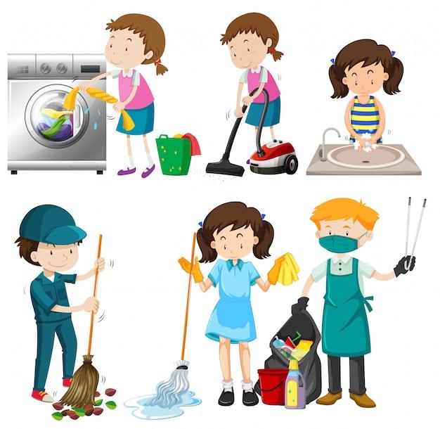 Conjunto de pessoas limpando