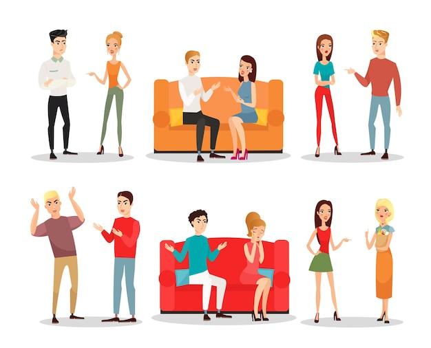 Conjunto de pessoas lutando e discutindo, escândalo. homens e mulheres gritando e brigando, loucos em posições diferentes. estilo liso dos desenhos animados.