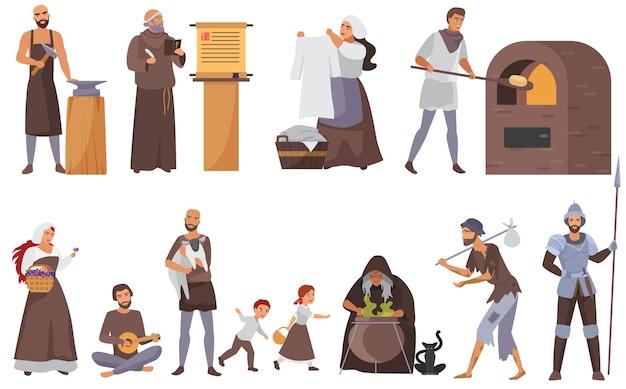 Conjunto de pessoas medievais, coleção de personagens históricos da idade média