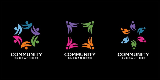Conjunto de pessoas modernas e design de logotipo da comunidade