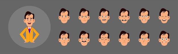 Conjunto de pessoas mostrando emoções. diferentes emoções faciais para animação, movimento ou design personalizado. conjunto de pessoas que mostram emoções. emoções faciais diferentes para animação, movimento ou design personalizado.