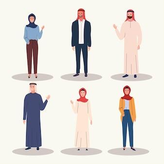 Conjunto de pessoas muçulmanas