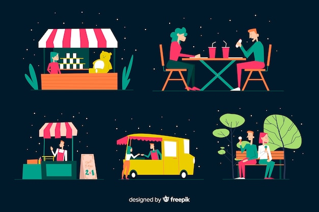 Conjunto de pessoas na feira da noite
