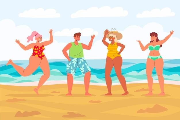 Conjunto de pessoas na praia