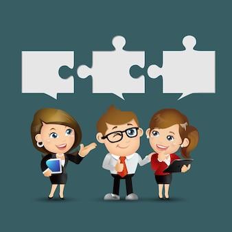 Conjunto de pessoas - negócios - grupo de empresários com quebra-cabeças