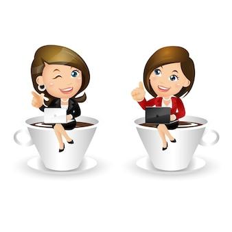 Conjunto de pessoas - negócios - mulher de negócios com uma xícara de café