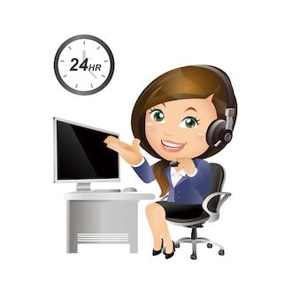Conjunto de pessoas - negócios - mulher de negócios. suporte ao cliente com fones de ouvido