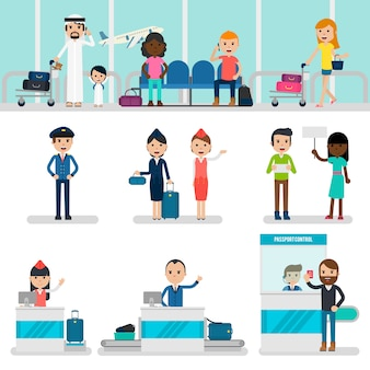Conjunto de pessoas no aeroporto