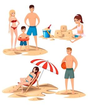 Conjunto de pessoas no design de personagens de desenhos animados da praia. ilustração plana
