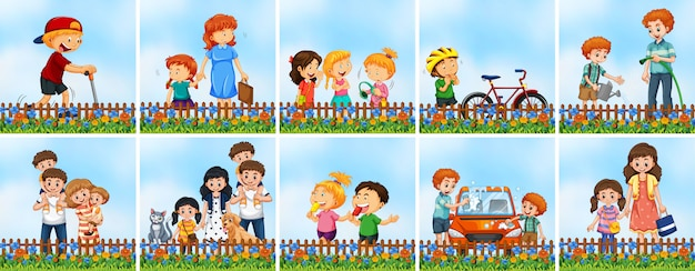 Conjunto de pessoas no jardim