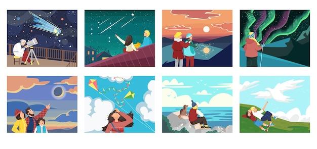 Conjunto de pessoas olhando para a ilustração do céu