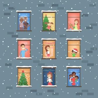 Conjunto de pessoas olhando pela janela. vizinhos em seu apartamento no inverno. ilustração vetorial plana