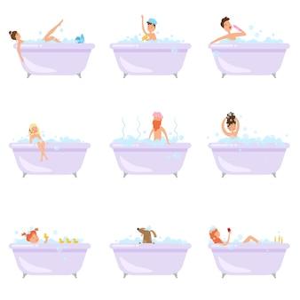 Conjunto de pessoas ou animais diferentes, tomar um banho na banheira