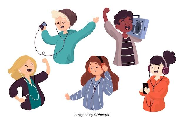 Conjunto de pessoas ouvindo música ilustrada