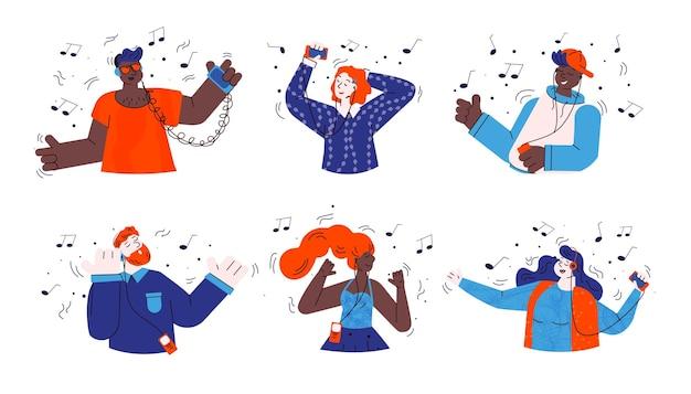 Conjunto de pessoas ouvindo música usando gadgets ilustração de doodle