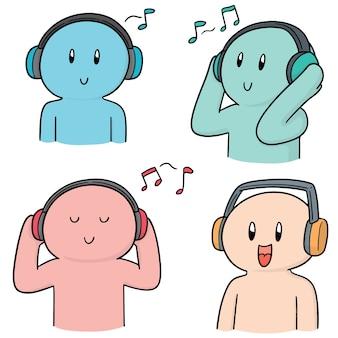 Conjunto de pessoas ouvindo música