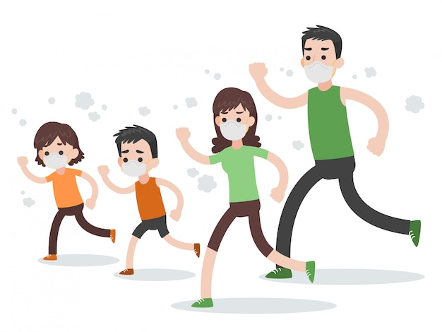 Conjunto de pessoas personagem família correndo usando máscaras protetoras