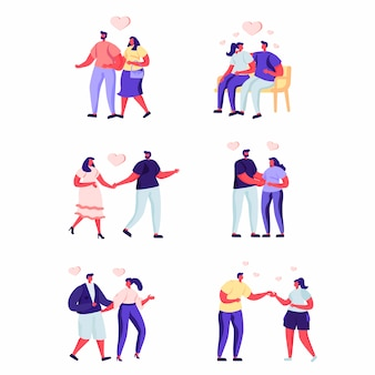 Conjunto de pessoas planas amo casal em um caracteres de data.