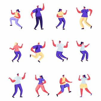 Conjunto de pessoas planas estão pulando caracteres de felicidade.