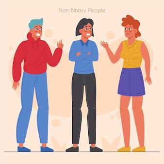 Conjunto de pessoas planas orgânicas não binárias