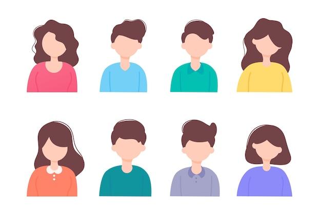 Conjunto de pessoas planas. personagem pessoas design simples masculino e feminino.
