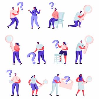Conjunto de pessoas planas que procuram algo caracteres.