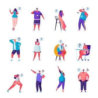 Conjunto de pessoas planas que procuram caracteres de algo