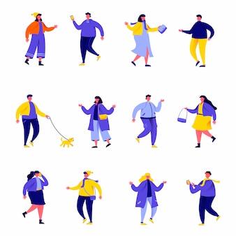 Conjunto de pessoas planas, vestidas com roupas sazonais ou personagens de outerwear