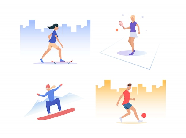 Conjunto de pessoas praticando esportes ativos