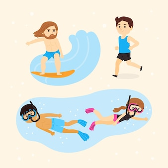 Conjunto de pessoas praticando esportes de verão