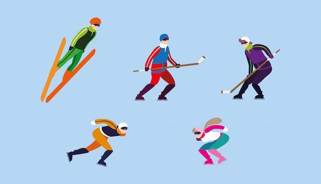 Conjunto de pessoas praticando esportes radicais de inverno