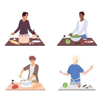 Conjunto de pessoas preparando comida em branco