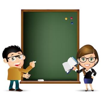 Conjunto de pessoas professor de educação mulheres quadro negro Vetor Premium
