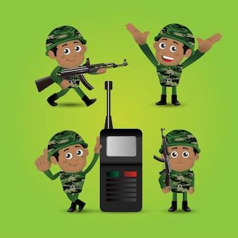 Conjunto de pessoas, profissão do exército