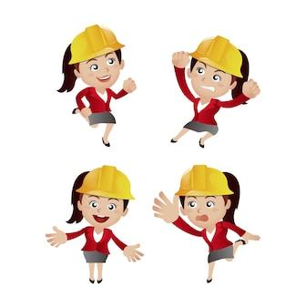 Conjunto de pessoas - profissão - engenheiro com poses diferentes