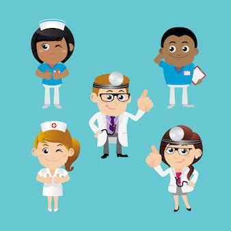 Conjunto de pessoas, profissão, médico, conjunto